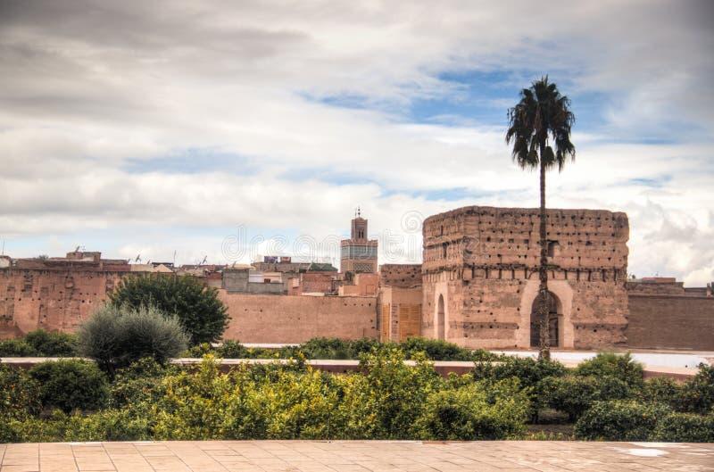 Dentro do palácio de Bab Agnaou em C4marraquexe, Marrocos foto de stock royalty free