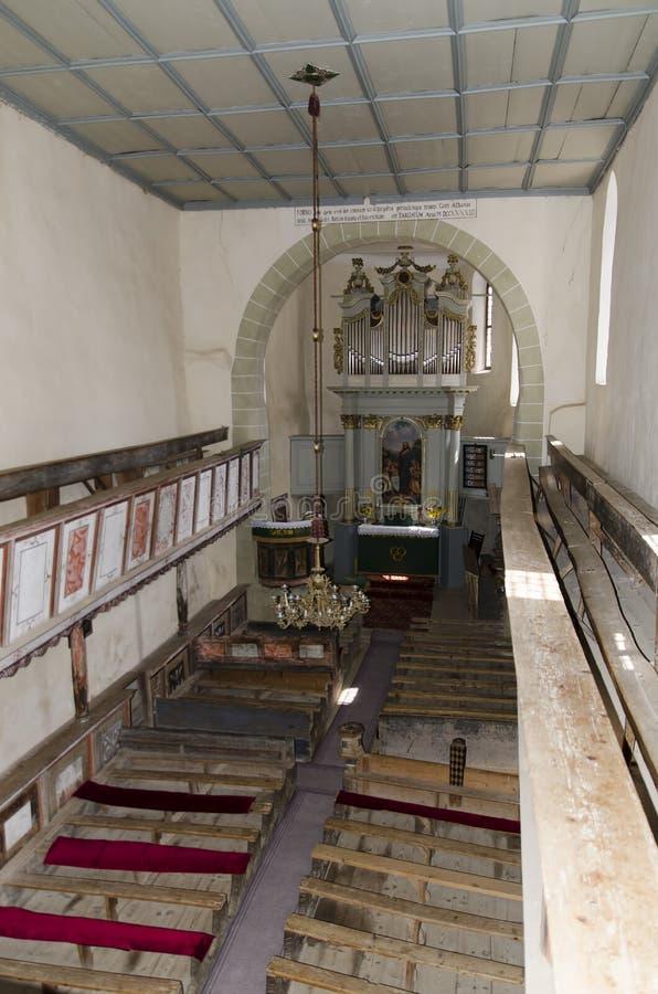 Dentro do Viscri igreja fortificada fotos de stock