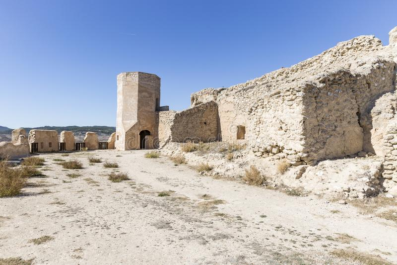 Dentro il castello principale di Ayub nella città di Calatayud fotografie stock libere da diritti