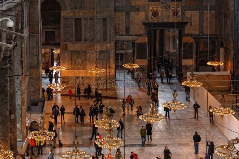 Dentro il Haghia Sophia Mosque a Costantinopoli fotografie stock