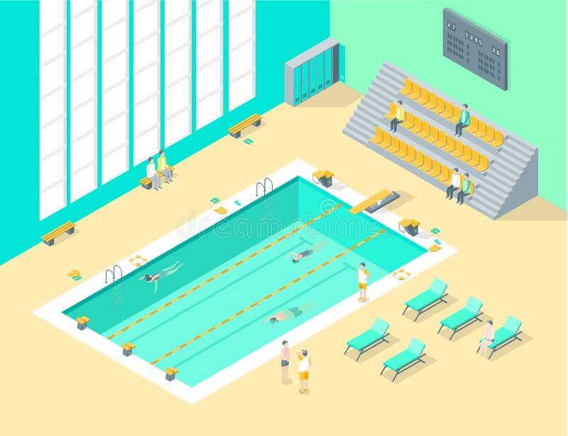 Dentro interior da piscina com opinião isométrica dos povos Vetor ilustração do vetor