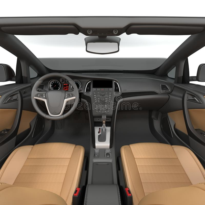 Dentro l'automobile scoperta a due posti - interno di un'automobile convertibile su un bianco illustrazione 3D illustrazione di stock