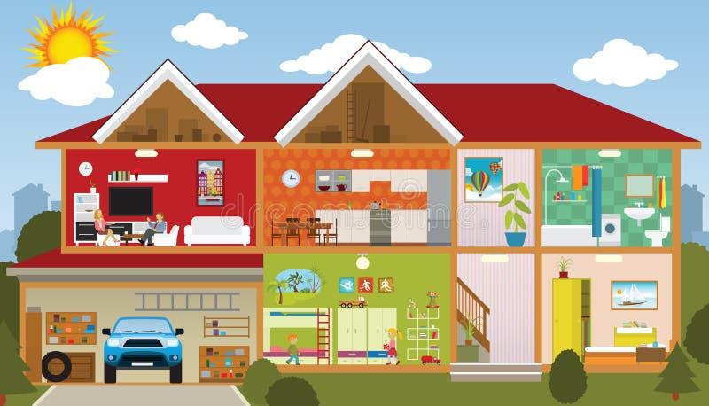 Dentro la casa illustrazione di stock
