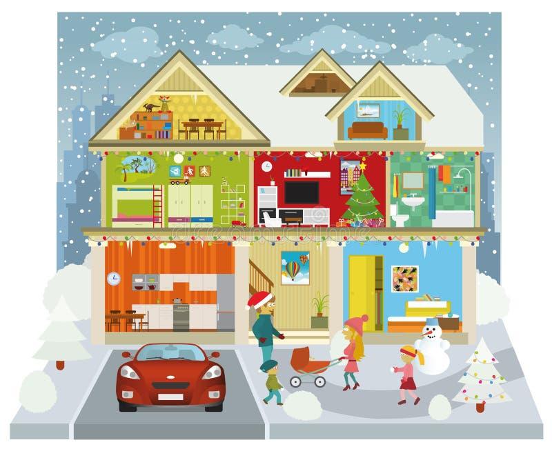 Dentro la casa (inverno) royalty illustrazione gratis