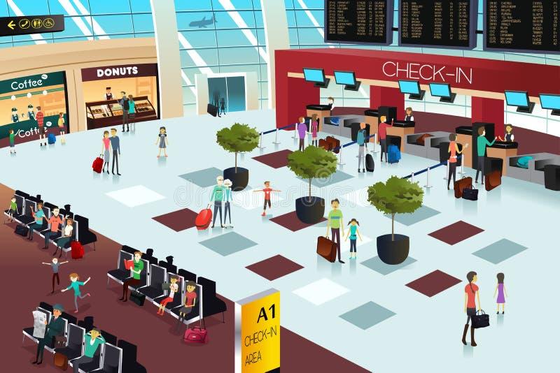 Dentro la scena dell'aeroporto illustrazione vettoriale