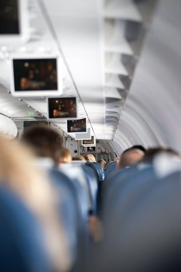 Dentro un aeroplano immagine stock libera da diritti