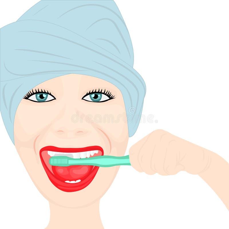 Dents cleening d'une fille illustration de vecteur