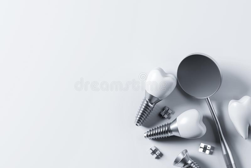 Dents d'implant et miroir, fond blanc illustration de vecteur