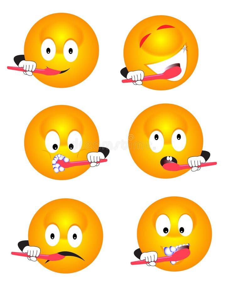 Dents de brossage d'émoticône illustration libre de droits