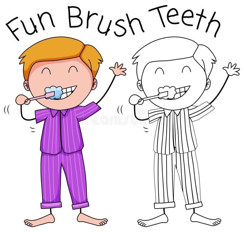 Dents de brossage d'un garçon illustration stock