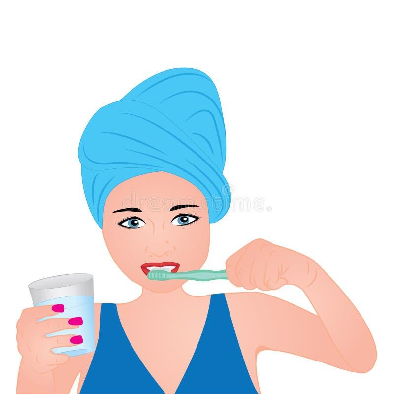 Dents de brossage d'une fille illustration de vecteur