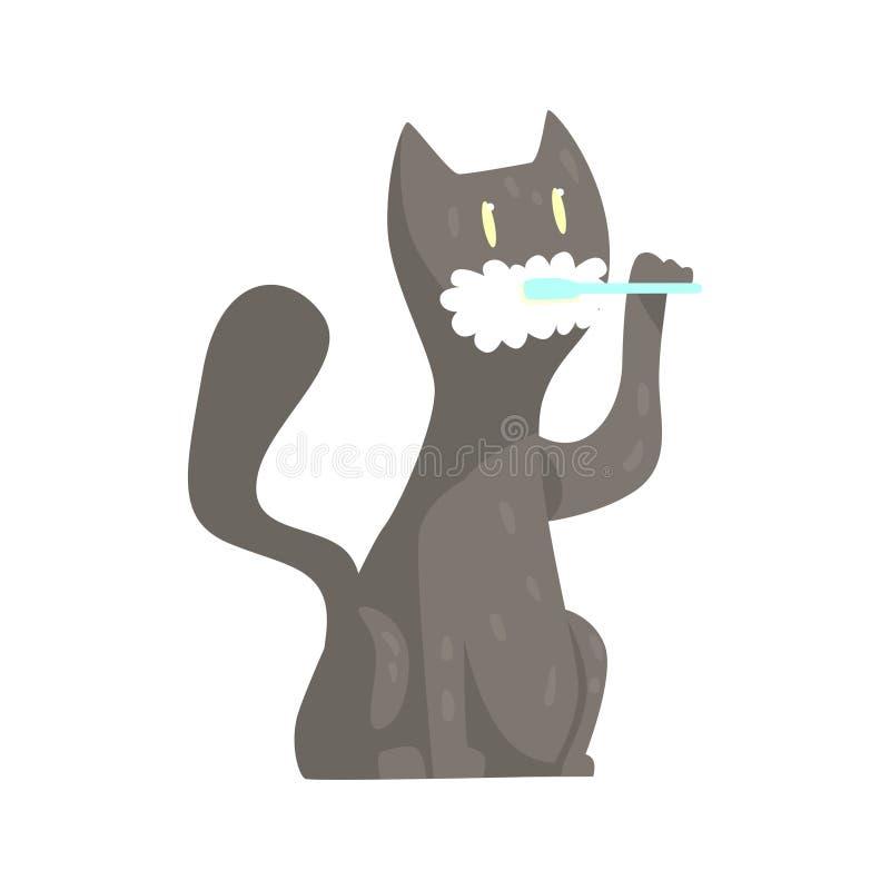 Dents de brossage de chat gris mignon de bande dessinée avec le caractère coloré de brosse à dents et de pâte, illustration anima illustration libre de droits
