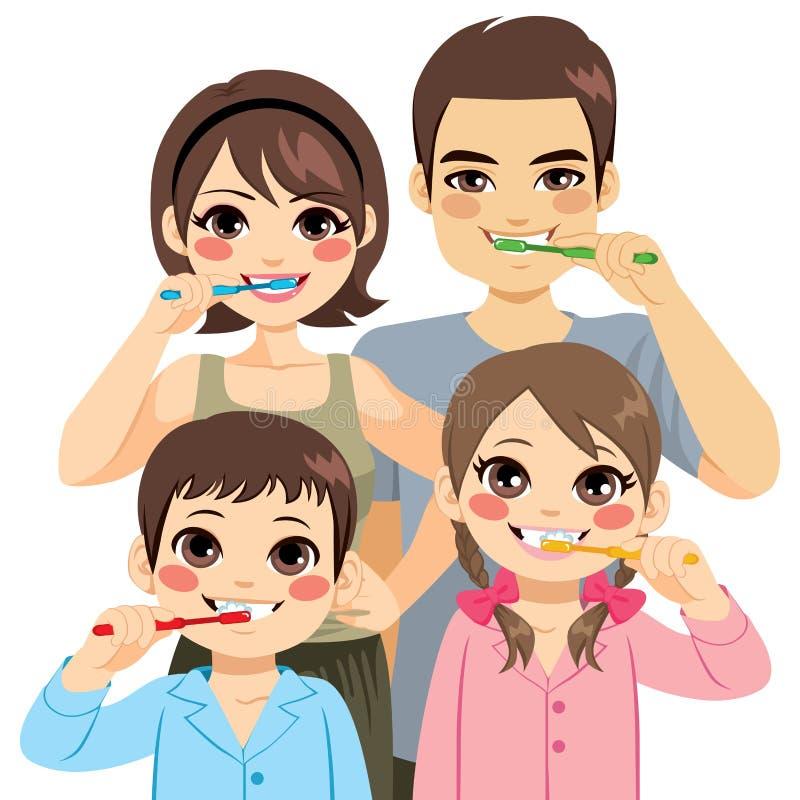 Dents de brossage de famille illustration de vecteur