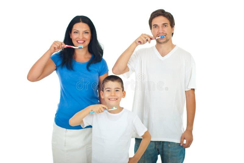 Dents de brossage de famille en bonne santé photos stock