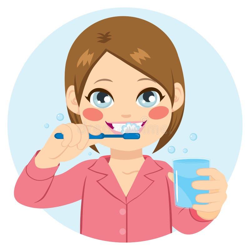Dents de brossage de fille illustration stock