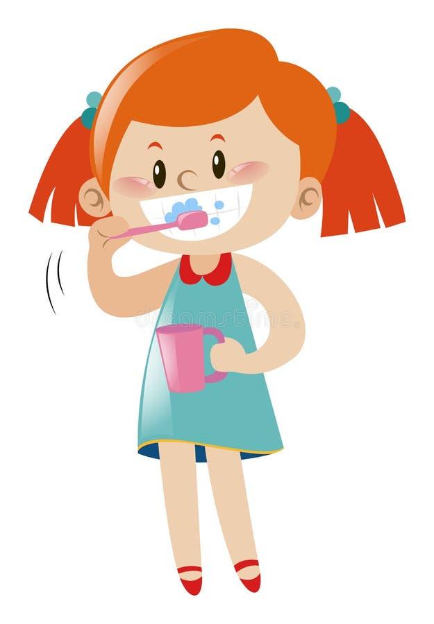 Dents de brossage de fille avec la brosse à dents illustration libre de droits