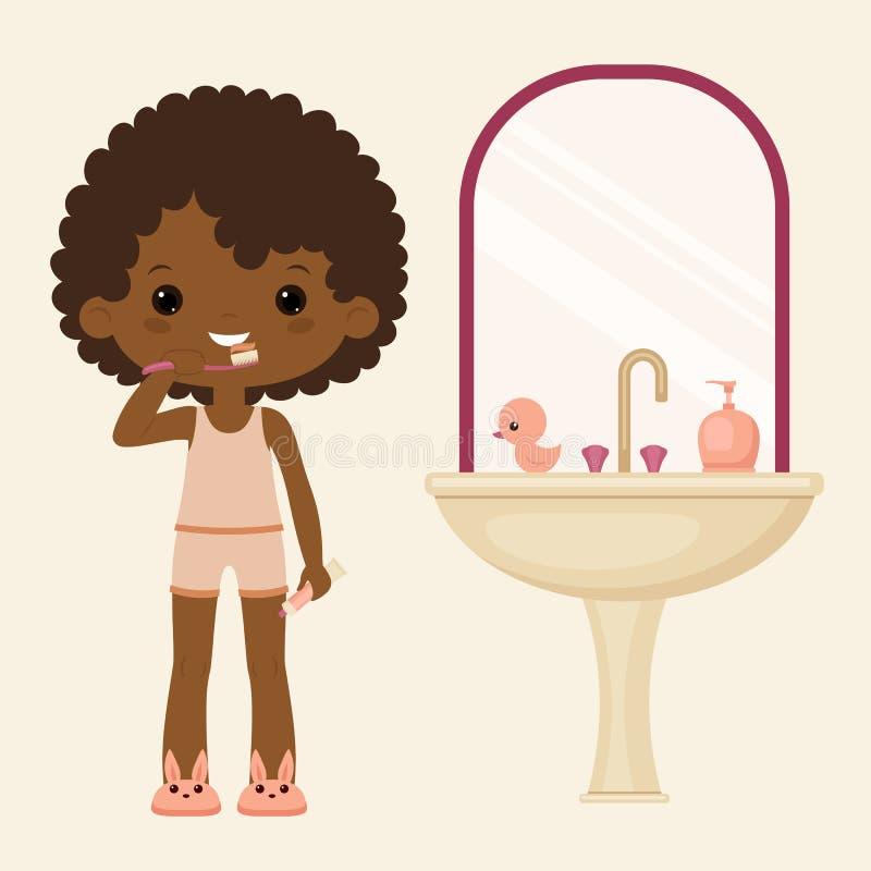 Dents de brossage de fille noire illustration de vecteur