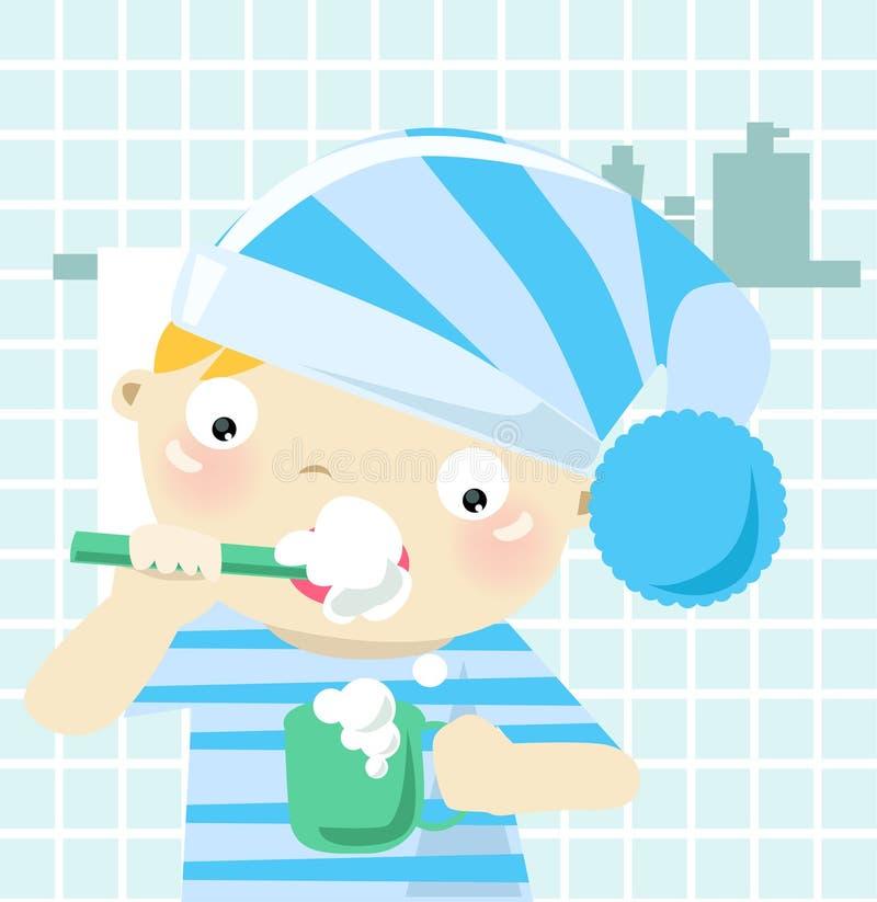 Dents de brossage de garçon illustration libre de droits