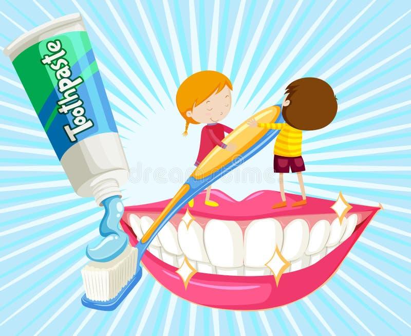 Dents de brossage de garçon et de fille illustration de vecteur