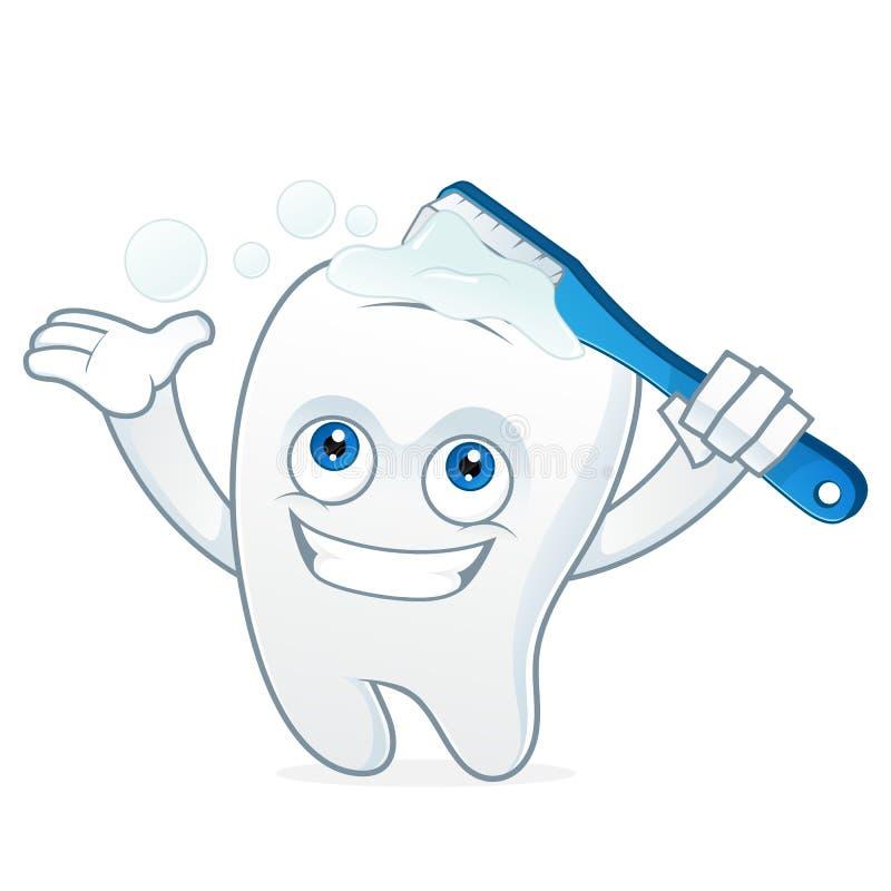 Dents de brossage de mascotte de bande dessinée de dent illustration stock