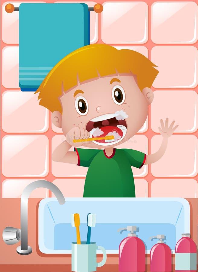 Dents de brossage de petit garçon dans la salle de bains illustration stock