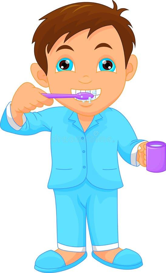 Dents de brossage mignonnes de petit garçon illustration stock