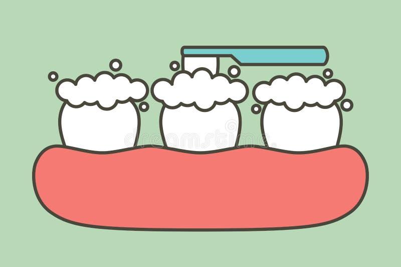 Dents de brossage - style plat de vecteur dentaire de bande dessinée illustration de vecteur