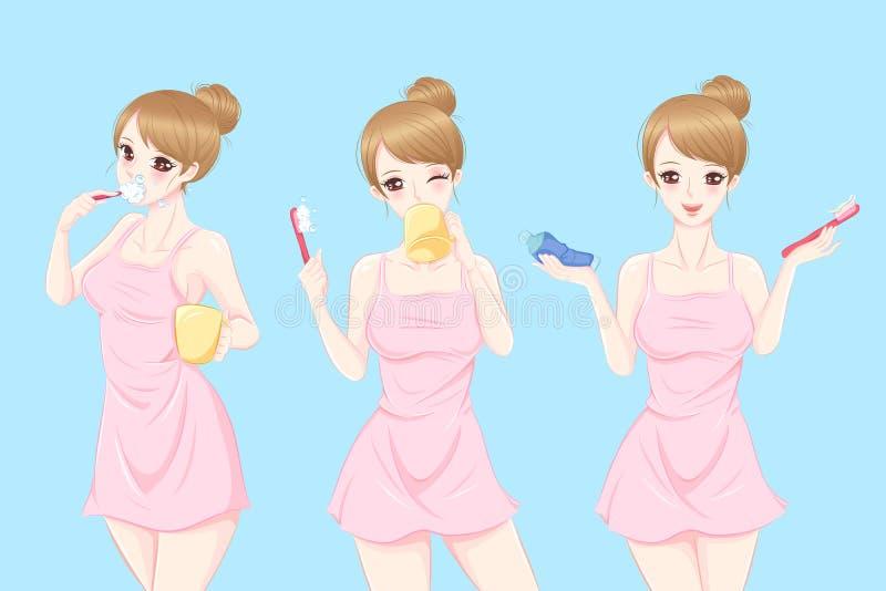 Dents de brosse de femme illustration de vecteur