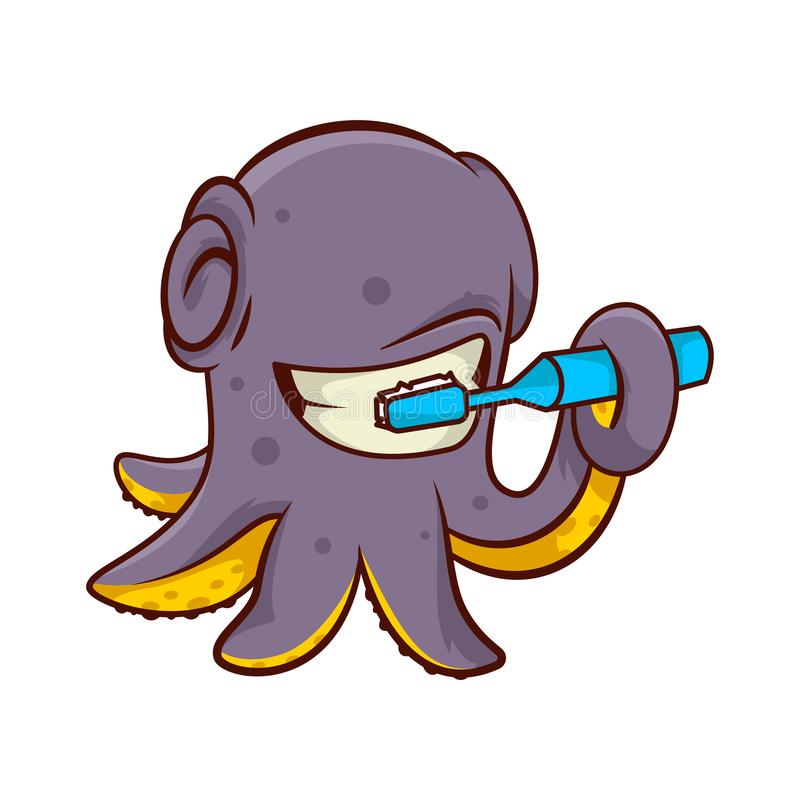 Dents de nettoyage de poulpe gai avec la brosse à dents Animal marin pourpre avec des tentacules Icône de vecteur de bande dessin illustration stock