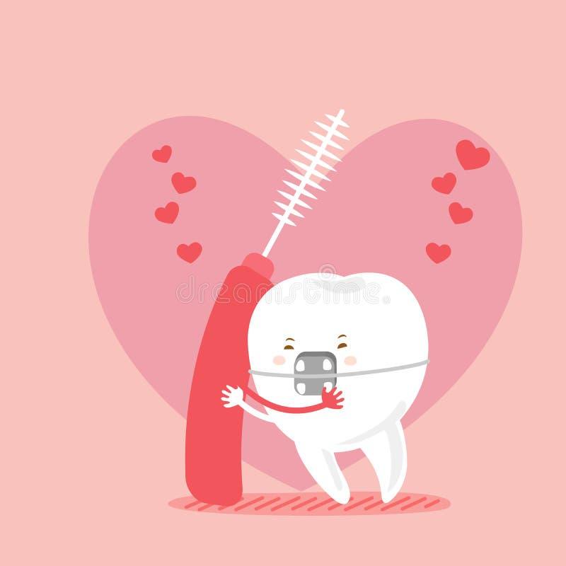 Dents et brosses interdentaires illustration stock