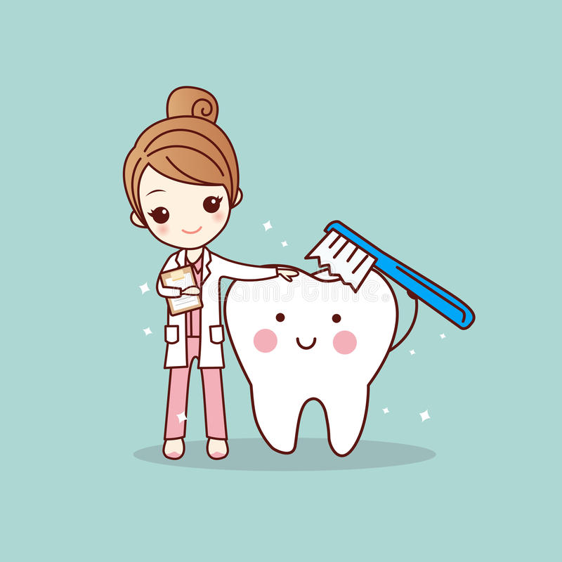 Dents propres de brosse de dentiste de femme illustration stock