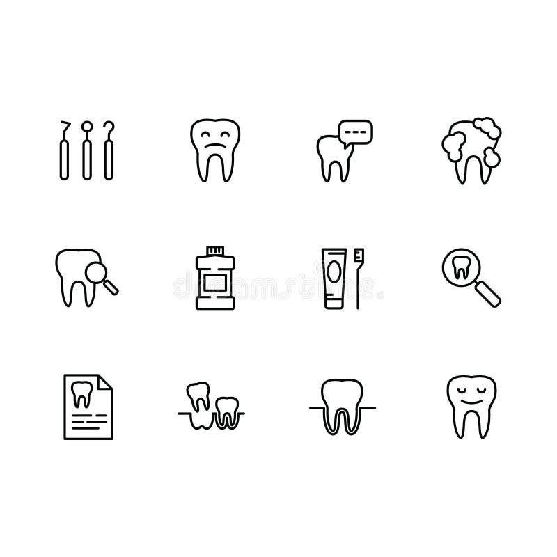 Dents réglées de santé d'icône de vecteur, art dentaire, instruments dentaires, soin oral Implantation, orthodonties et traitemen illustration de vecteur