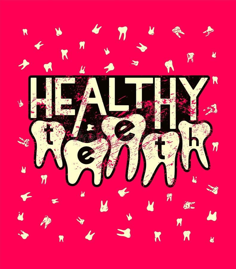 Dents saines Rétro affiche dentaire grunge typographique Illustration de vecteur illustration libre de droits