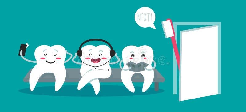 Dents sur le divan et la brosse ? dents sur le fond bleu Dents saines Sc?ne d?mod?e de matin : machine ? ?crire antique, cuvette  illustration stock