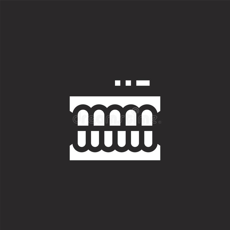 Denture icon. Filled denture icon for website design and mobile, app development. denture icon from filled dental collection. Isolated on black background vector illustration