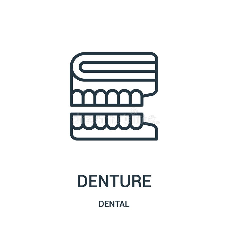 Denture icon vector from dental collection. Thin line denture outline icon vector illustration. Linear symbol. For use on web and mobile apps, logo, print media vector illustration