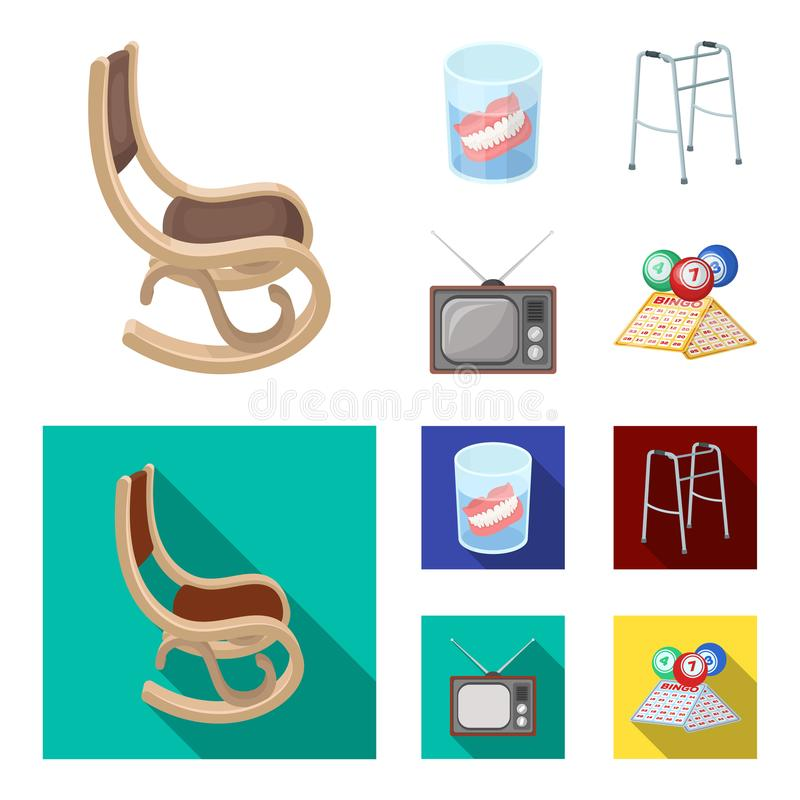 Denture, rocking chair, walker, old TV.Old age set collection icons in cartoon,flat style vector symbol stock. Illustration royalty free illustration