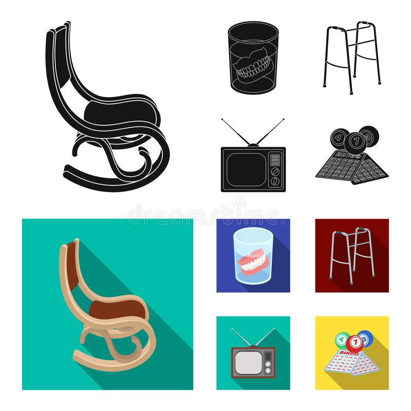 Denture, rocking chair, walker, old TV.Old age set collection icons in black, flat style vector symbol stock. Illustration royalty free illustration