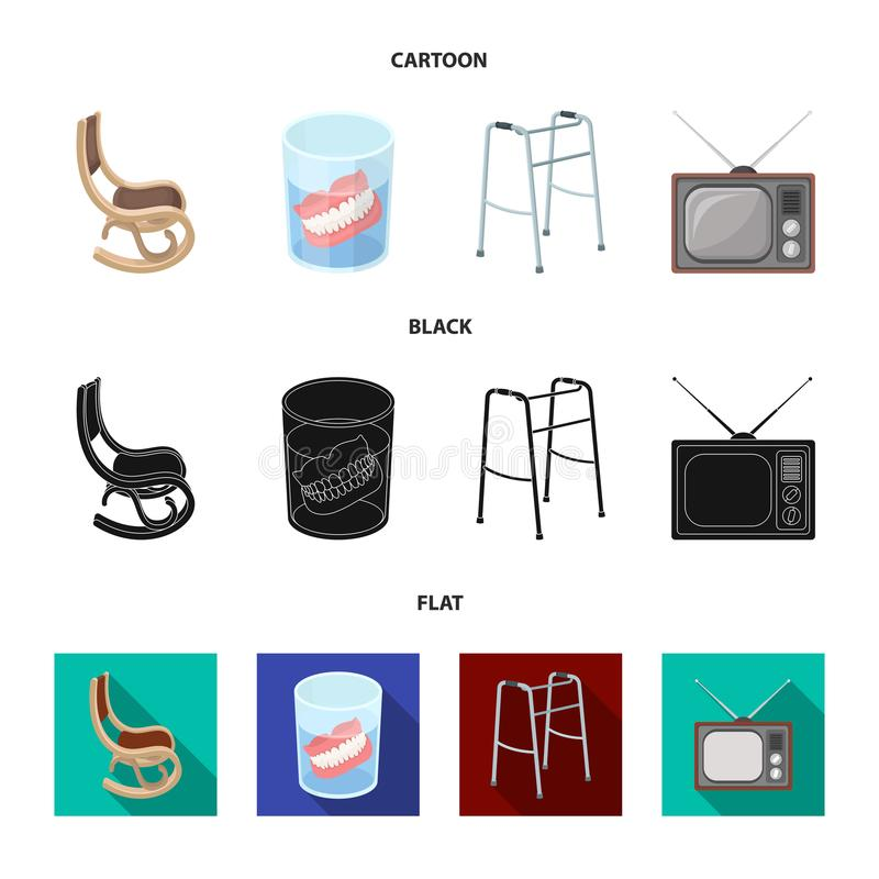 Denture, rocking chair, walker, old TV.Old age set collection icons in cartoon,black,flat style vector symbol stock. Illustration royalty free illustration