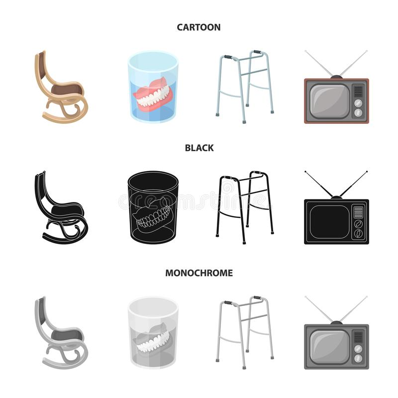 Denture, rocking chair, walker, old TV.Old age set collection icons in cartoon,black,monochrome style vector symbol. Stock illustration stock illustration