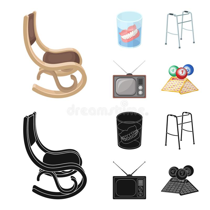 Denture, rocking chair, walker, old TV.Old age set collection icons in cartoon,black style vector symbol stock. Illustration royalty free illustration