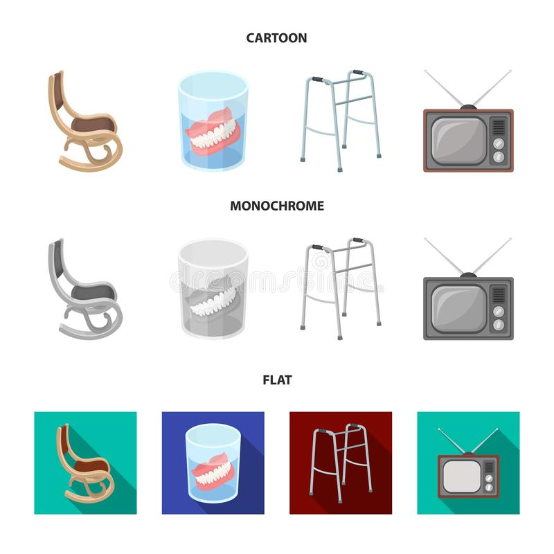 Denture, rocking chair, walker, old TV.Old age set collection icons in cartoon,flat,monochrome style vector symbol stock. Illustration royalty free illustration
