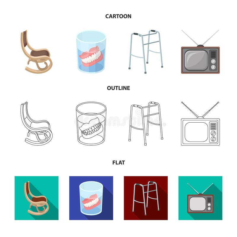 Denture, rocking chair, walker, old TV.Old age set collection icons in cartoon,outline,flat style vector symbol stock. Illustration vector illustration