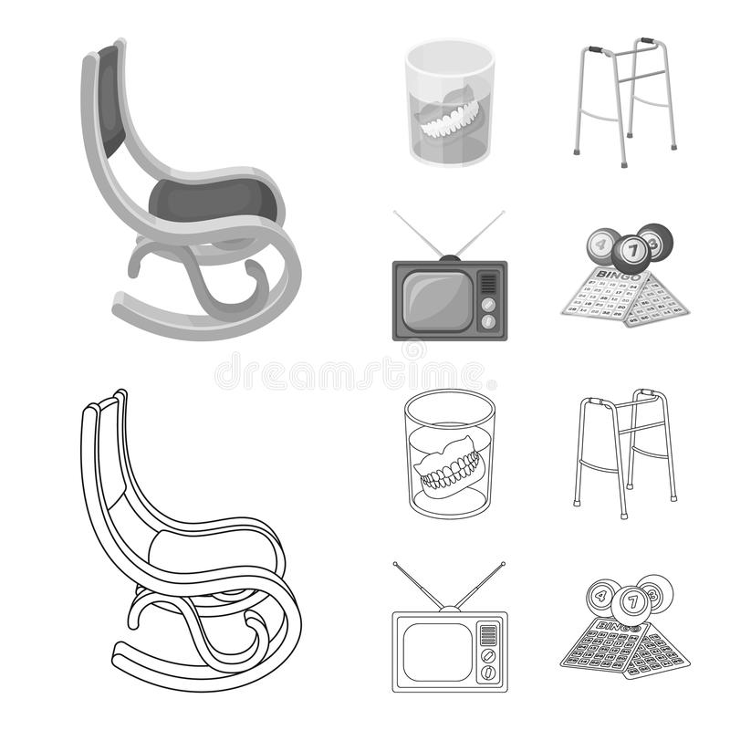 Denture, rocking chair, walker, old TV.Old age set collection icons in outline,monochrome style vector symbol stock. Illustration stock illustration