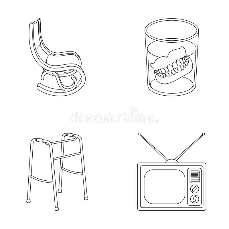 Download Denture Rocking Chair Walker Old TVOld Age Set Collection Icons
