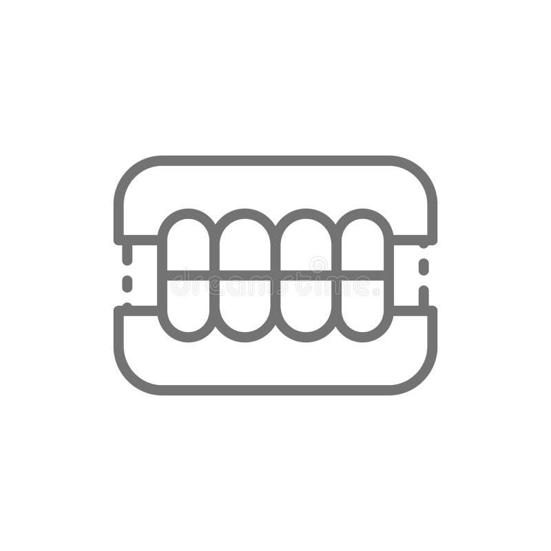 Dentures, dental prosthesis, tooth orthopedics line icon. vector illustration