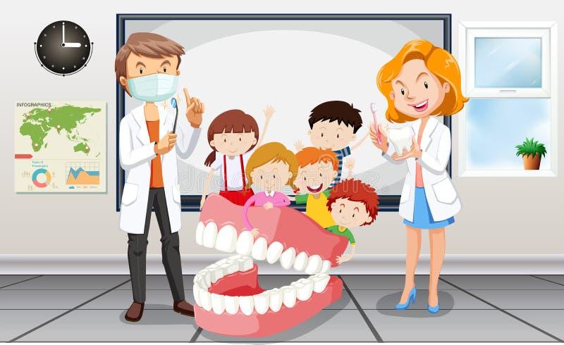 Dentyści i dzieci w sala lekcyjnej ilustracja wektor