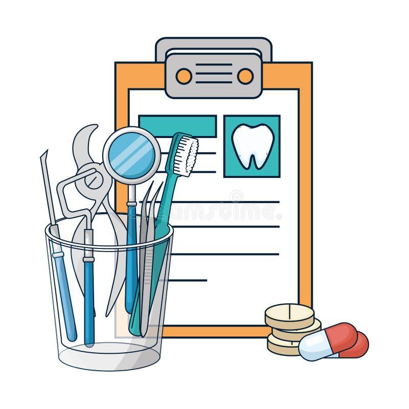 Dentystów narzędzia w szkle i schowku royalty ilustracja