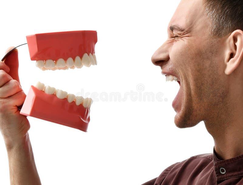 Dentystów zębów doktorskiej dużej atrapy szczęśliwy ono uśmiecha się zdjęcie royalty free