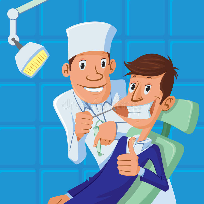 Dentysta i pacjent royalty ilustracja